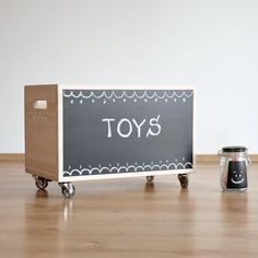Toy Storage Box Blackboard on Wheels