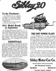 1910 Sibley Automobile Advertisement