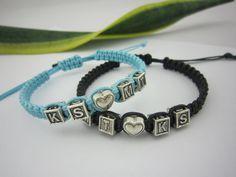 Couples Bracelets Set Monogram Bracelets His and Hers by PrettyDIY, $19.99