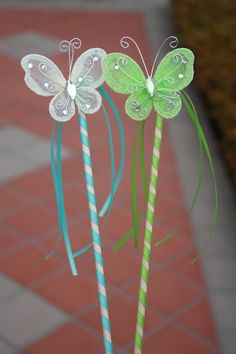 Tinkerbell party ~ 12 Butterfly Disney's Secret of The Wings by LittleLadyLilys, $24.00 - pretty sure I could make these with dowel rods, ribbon & butterflies from michaels
