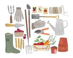 gardening tools gouache. great idea for painting practice, paint objects related to a single subject/topic.