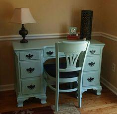 Sherwin Williams Hazel paint on dual pedestal desk