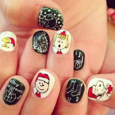 Charlie Brown 'Christmas' Nails
