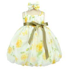 Yellow Flourishing Chiffon Bubble Infant Dress