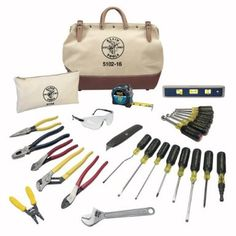 Keep the tools you need on hand when you have this Klein Tools 80028 Electrician Tool Set. It makes a wonderful gift for the electrician in your life. Model: Professional electrician tools are ideal for do-it-yourselfers and construction crews. Hand Tool Kit, Tool Set, Electrical Hand Tools, Electrical Wiring, Electrical Engineering, Melbourne, Canvas Tool Bag, Electrician Gifts, Adjustable Wrench