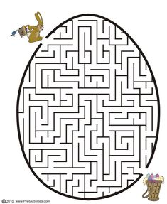 Easter egg shaped maze from PrintActivities.com