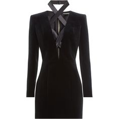 Balmain Lace-Up Mini-Dress ($1,315) ❤ liked on Polyvore featuring dresses, balmain, short dresses, black, long sleeve mini cocktail dress, velvet dress, long sleeve cocktail dresses and long-sleeve velvet dress