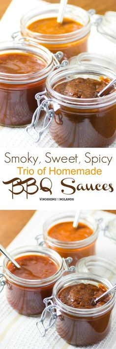 Smoky, Sweet, Spicy Trio of Homemade BBQ Sauces by Noshing With The Nolands will be all you need when you BBQ this summer! Made with the assortment of spices in my new ShelfGenie spice drawers!