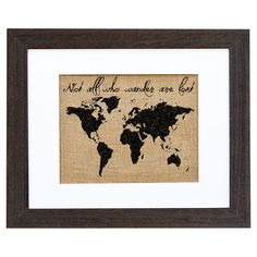 Perfect as a delightful focal point or in an eye-catching vignette, this charming framed burlap print showcases a world map and typographic motif. Handmade i...
