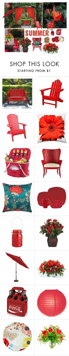 """Red Hot Summer"" by mommastephud ❤ liked on Polyvore featuring interior, interiors, interior design, home, home decor, interior decorating, Crosley Radio & Furniture, DutchCrafters, Pillow Decor and Thos. Baker"