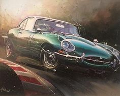 Fleetwood - E-Type Jag Original Acrylic 60 x Available in our gallery - Car Themes, Garage Art, Car Illustration, Car Posters, Jaguar E Type, Car Drawings, Automotive Art, Car Painting, Sports Art