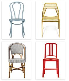 Colorful kitchen chairs.  Nice, homey accents!