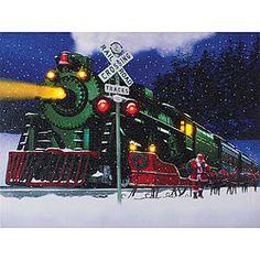 Lighted Christmas Train Canvas