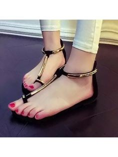 Ladylike Zipper Design Patchwork Flat-sandals Flat Sandals from fashionmia.com