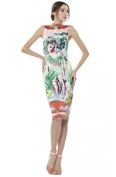 MARCELLA FITTED KNEE LENGTH DRESS in LOLA LADY by Alice + Olivia