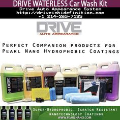 DRIVE Auto Appearance product line. These are perfect companion car care products to be used before and after using the Pearl Nano Hydrophobic Coatings. Totally Re-Designed to work in a vast array of conditions and surfaces. Clean, Polish, Prep & Remove Oils, plus Maintain the cars after the coatings are applied. Buy Wholesale/ Retail—visit us @ http://Driveinhidefinition.com—For Sales: Please contact us at Sales@DriveinHiDefinition.com