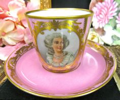 ANTIQUE SEVRES TEA CUP AND SAUCER PAINTED ARTIST SIGNED PORTRAIT TEACUP
