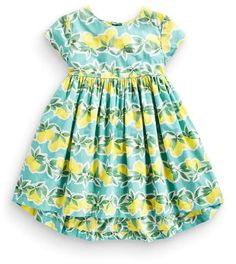 $26.99 Lemon Print with Green Leaves Girls Dress - FREE SHIPPING (U.S. Only) Plus 20% Off at checkout with Discount Code N20 at suzykidzmart.com