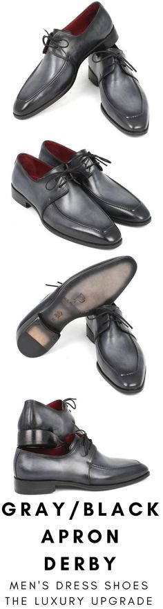 Mens dress shoe in gray and black apron Derby by Paul Parkman. Luxury mens handmade dress shoes, formal shoes, business shoes for any occasion. These shoes come in multiple sizes. They are hand-painted with care by expert shoemakers. #mensdressshoes #dressshoes #shoes #mensfashion #socks #laces #handmade #bestshoes #luxuryshoes #businessshoes #formalshoes