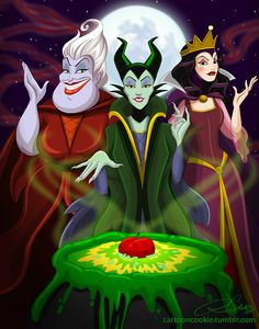 ⚡ Disney Guest ⚡ The Classic Witches Ursula, Maleficent and The Evil Queen - Updated by Devonne - Disney Pixar, Evil Disney, Dark Disney, Disney Villains, Disney Animation, Disney And Dreamworks, Disney Love, Disney Magic, Disney Halloween