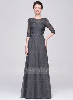 [US$ 176.99] A-Line/Princess Scoop Neck Floor-Length Tulle Lace Mother of the Bride Dress With Beading Sequins