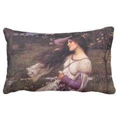 Windflowers-by John William Waterhouse 1902 Lumbar Pillow - classic gifts gift ideas diy custom unique