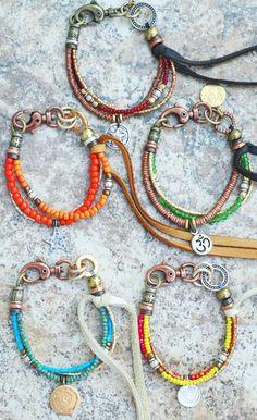 Bracelet | Friendship | Leather | Glass | Mixed-Media | XO Gallery | XO Gallery