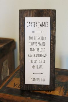 "Baby Nursery Quote Sign - Rustic Decor - New Parent Gift - ""FOR THIS CHILD I have prayed"" - Bible Verse quote - Customized Nursery Name sign"