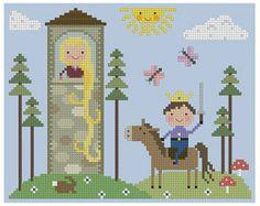 Motif de point de croix de Rapunzel par Theflossbox sur Etsy, $4.00