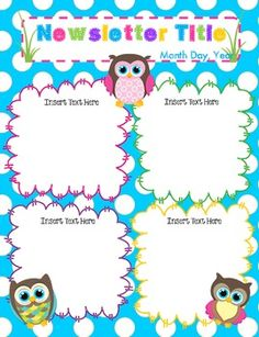 Teacher Owl Theme Newsletter Template on owl graphic design, owl classroom theme, owl hall pass theme, owl classroom decor, owl bulletin boards, classroom newspaper template, owl clip art, letter home to parents template, owl border paper, owl lesson plans, owl calendar, owl classroom roster, owl letter t, owl word wall, owl fact sheet, owl theme for first grade, owl cut out shapes,