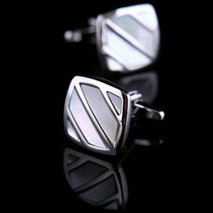 White Mother Of Pearl Striped Cufflinks