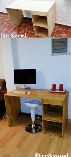 Now this is what we call bringing a cool and cozy effect in your house furnishing! This wood pallet functional idea of designing is interlinked with the wood pallet computer table design. The use of wood pallet would make it look super gorgeous.