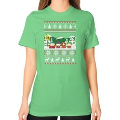 MERY CHRIMAST southpark Unisex T-Shirt (on woman)