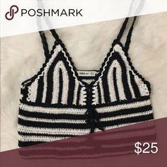 ZARA Crochet Knit Cropped Boho top ✈️ Same day shipping 💖 💨 smoke free & 🐶 Pet free home 🏡  ZARA Crochet Knit Cropped Crop Top Boho Bralette Women's Size S Zara Tops Blouses