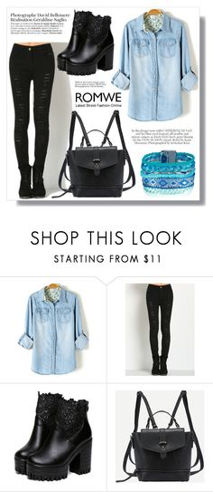 """Romwe 4. / IX"" by amra-sarajlic ❤ liked on Polyvore featuring Wild Rose and romwe"