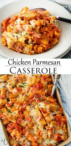 Make this easy casserole recipe with homemade crispy chicken frozen chicken tenders or with leftover rotisserie chicken Add rigatoni pasta marinara and lots of cheese recipeswithchicken easychickenrecipes makeaheadmeals Chicken Parmesan Casserole, Chicken Parmesan Recipes, Best Chicken Recipes, Crispy Chicken, Recipes With Leftover Chicken, Pasta With Chicken, Easy Chicken Meals, Cooked Chicken Recipes Leftovers, Cheesy Chicken