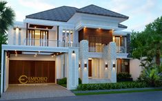 Beverly Ave House Design Type - Batam- Quality house design of architectural services, experienced professional Bali Villa Tropical designs from Emporio Architect. House Front Design, Modern House Design, Style Villa, Bali Style Home, Modern Tropical House, Architect House, Architect Logo, Modern House Facades, Dream House Exterior