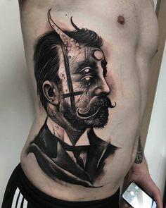 Victorian Demon Guy Tattoo by Anrijs Straume Torso Tattoos, Side Tattoos, Couple Tattoos, Body Art Tattoos, Sleeve Tattoos, New Tattoos, Occult Tattoo, Demon Tattoo, Reaper Tattoo