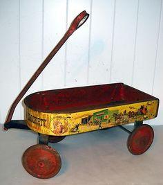 Vintage Walt Disney Davy Crockett Tin Western Prairie Wagon Scarce