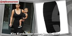 Where did Kim Kardashian get her black ruched pencil skirt from whilst out with North in Soho 12/08/14? - Style on Screen