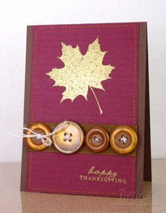 A lovely button adorned handmade Thanksgiving Day card. #autumn #cards #crafts