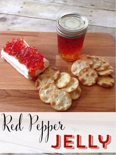 Red pepper jelly is so simple to make and works great as an appetizer. Make a batch and spread a jar over cream cheese. Your guests will love it! Pepper Jelly Recipes, Red Pepper Jelly, Blueberry Pepper Jelly Recipe, Pepper Relish, Jam Recipes, Canning Recipes, Holiday Recipes, Easy Canning, Recipes