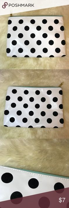 Black & White Polka Dot Zip Pouch Small scuff marks as shown in photo. Otherwise in great condition! Can be used as either a makeup bag or clutch. Black polka dots have soft felt texture. Mint green stitching around zipper. Hot pink lining. Super cute! Please ask all questions before purchasing. More photos can be added upon request. All items come from a smoke-free and pet-free home. No discounts or trades. See my blog for more photos & style inspiration: chelseapearl.com Forever 21 Bags…