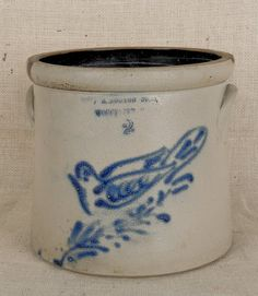 Two-gallon stoneware crock with cobalt bird on a branch decoration, impressed F.B.Norton Sons Worcester, MA