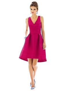 """Cocktail length v-neck dupioni dress w/ matching belt at natural waist and subtle high-low hem. Pleated skirt has pockets at side seams. Front skirt is 22"""" from natural waist to hem. Dress also available in full length as style D587. Style D586"""