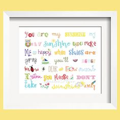 You Are My Sunshine Print 5x7 Rainbow colors for boys and girls room decor  - by Yassisplace. $10.95, via Etsy.