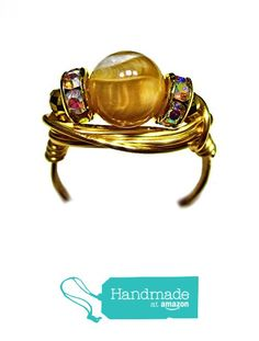Caramel Mother of Pearl Czech Art Glass Wire Wrap Ring All Sizes from Designer Wire Jewelry http://www.amazon.com/dp/B01AB1AQ9C/ref=hnd_sw_r_pi_dp_aoT8wb0266TY4 #handmadeatamazon