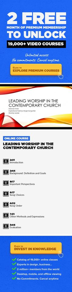 Leading Worship in the Contemporary Church Music, Music Production, Creative, Church, Creativity, Team, Worship, Ministry #onlinecourses #socialskills #skillstolearn   If you are an aspiring or current contemporary worship leader (or team member) in aChristian church or para-church ministry, this class is for you. Through discussions on the goals of worship, important perspectives to maintain,...