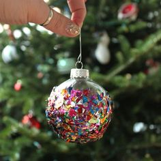 Make a plain Christmas ornament into something special with confetti!