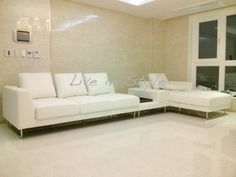 Max2917 - L-Shape White Leather Sofa